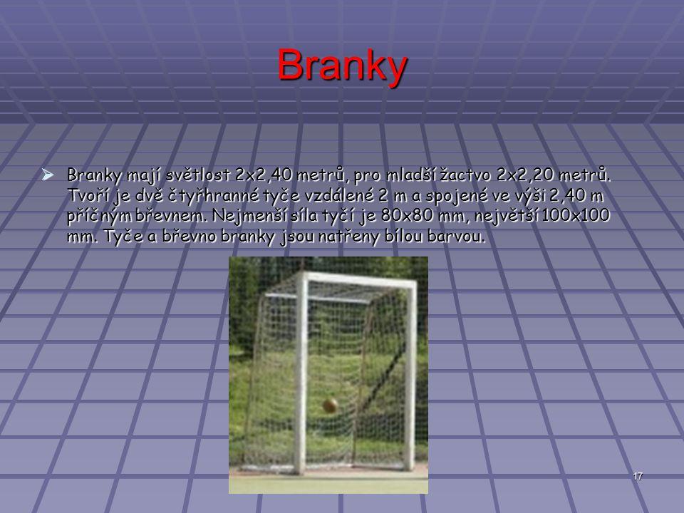 17 Branky  Branky mají světlost 2x2,40 metrů, pro mladší žactvo 2x2,20 metrů.