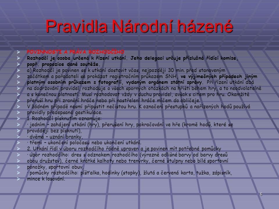 6 Pravidla Národní házené   POVINNOSTI A PRÁVA ROZHODČÍHO   Rozhodčí je osoba určená k řízení utkání.
