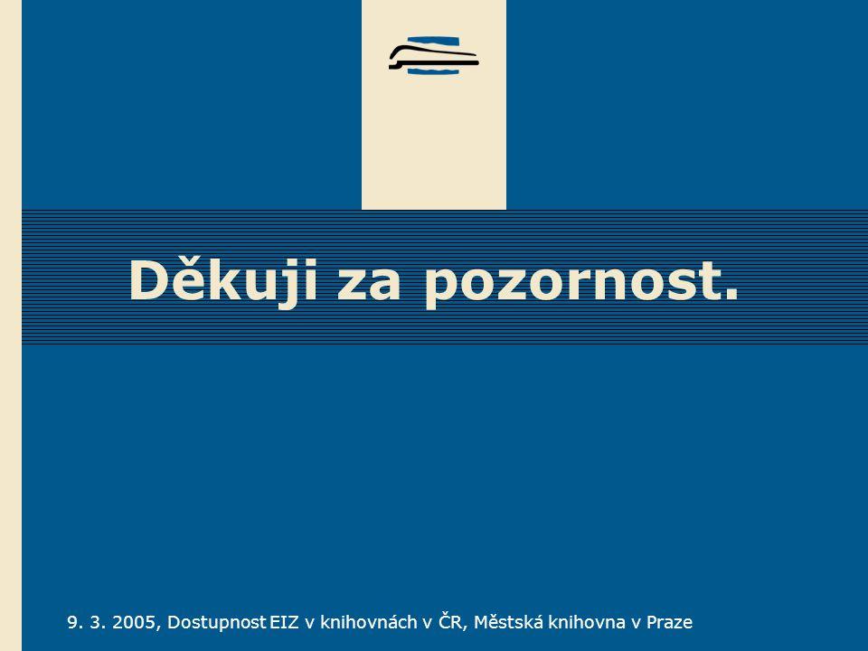 9. 3. 2005, Dostupnost EIZ v knihovnách v ČR, Městská knihovna v Praze Děkuji za pozornost.