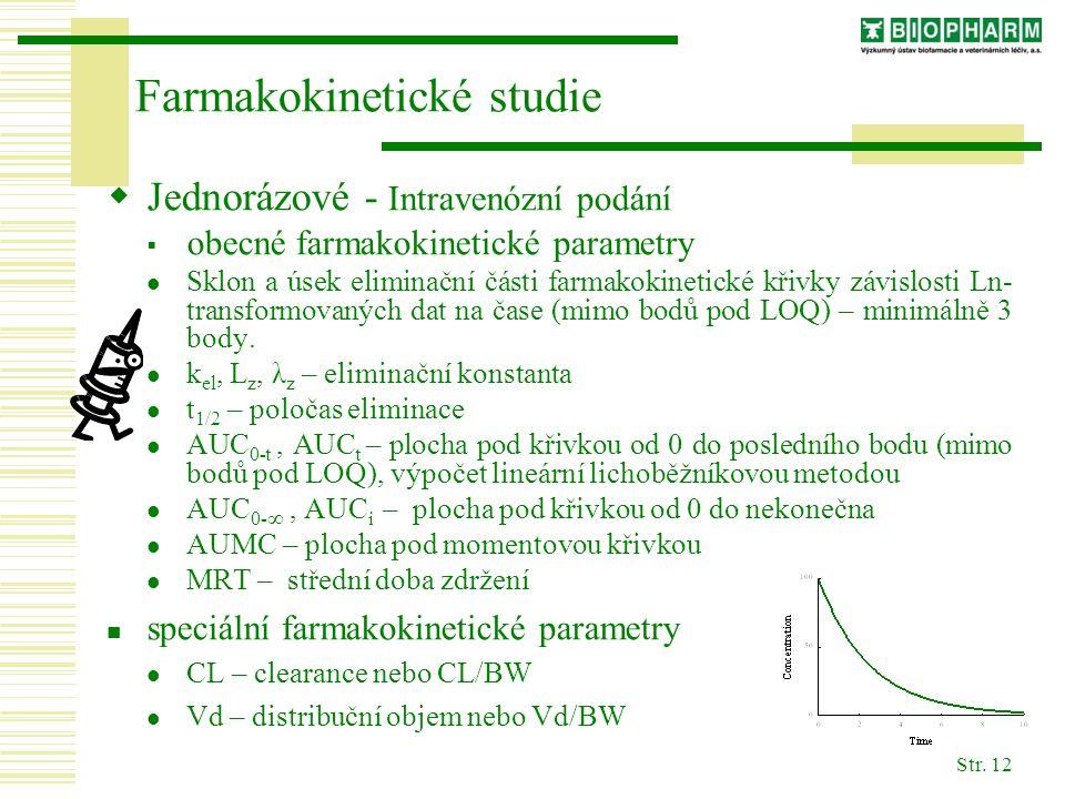Str. 12  Jednorázové - Intravenózní podání  obecné farmakokinetické parametry Sklon a úsek eliminační části farmakokinetické křivky závislosti Ln- t