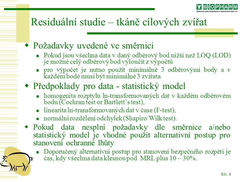 Str. 4 Residuální studie – tkáně cílových zvířat  Požadavky uvedené ve směrnici Pokud jsou všechna data v daný odběrový bod nižší než LOQ (LOD) je mo