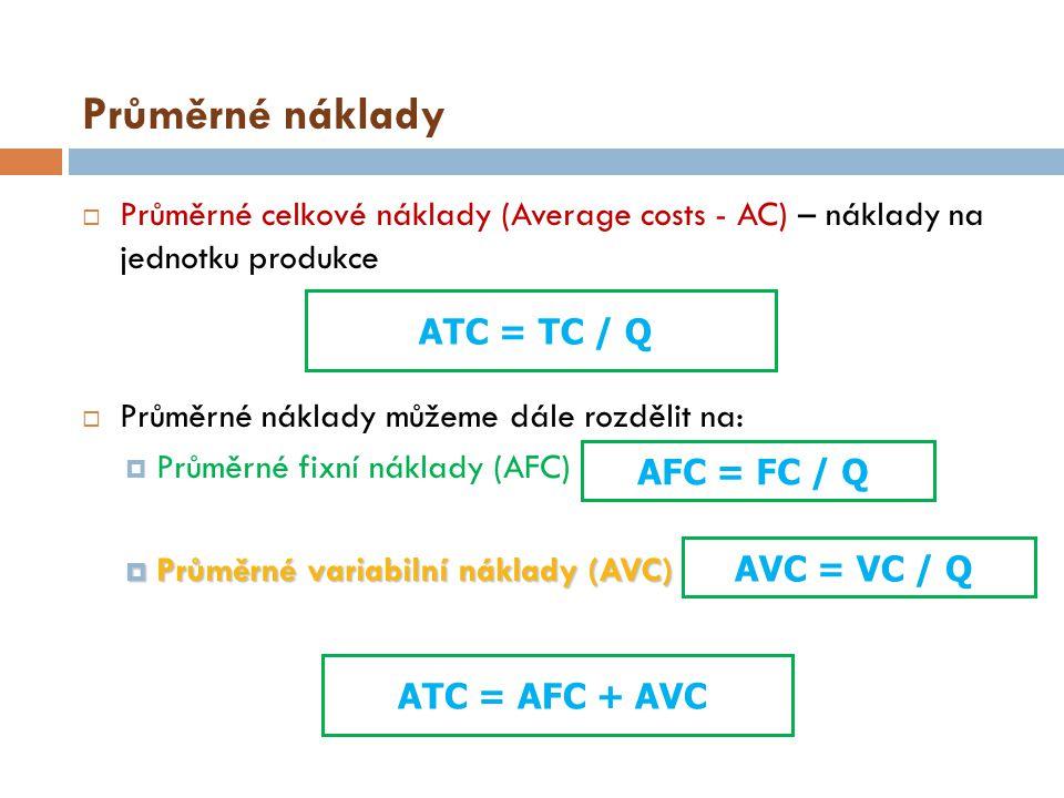 Průměrné náklady  Průměrné celkové náklady (Average costs - AC) – náklady na jednotku produkce  Průměrné náklady můžeme dále rozdělit na:  Průměrné