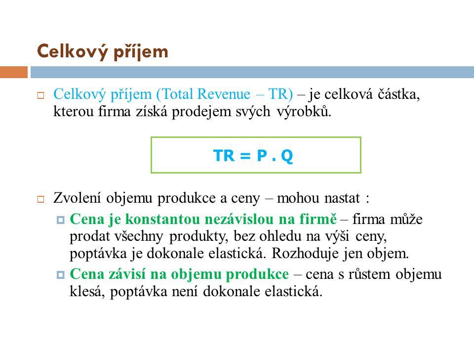 Celkový příjem  Celkový příjem (Total Revenue – TR) – je celková částka, kterou firma získá prodejem svých výrobků.  Zvolení objemu produkce a ceny
