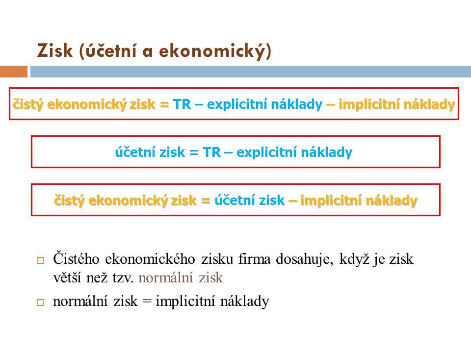 Zisk (účetní a ekonomický)  Čistého ekonomického zisku firma dosahuje, když je zisk větší než tzv. normální zisk  normální zisk = implicitní náklady
