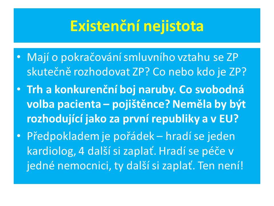 Existenční nejistota Mají o pokračování smluvního vztahu se ZP skutečně rozhodovat ZP.