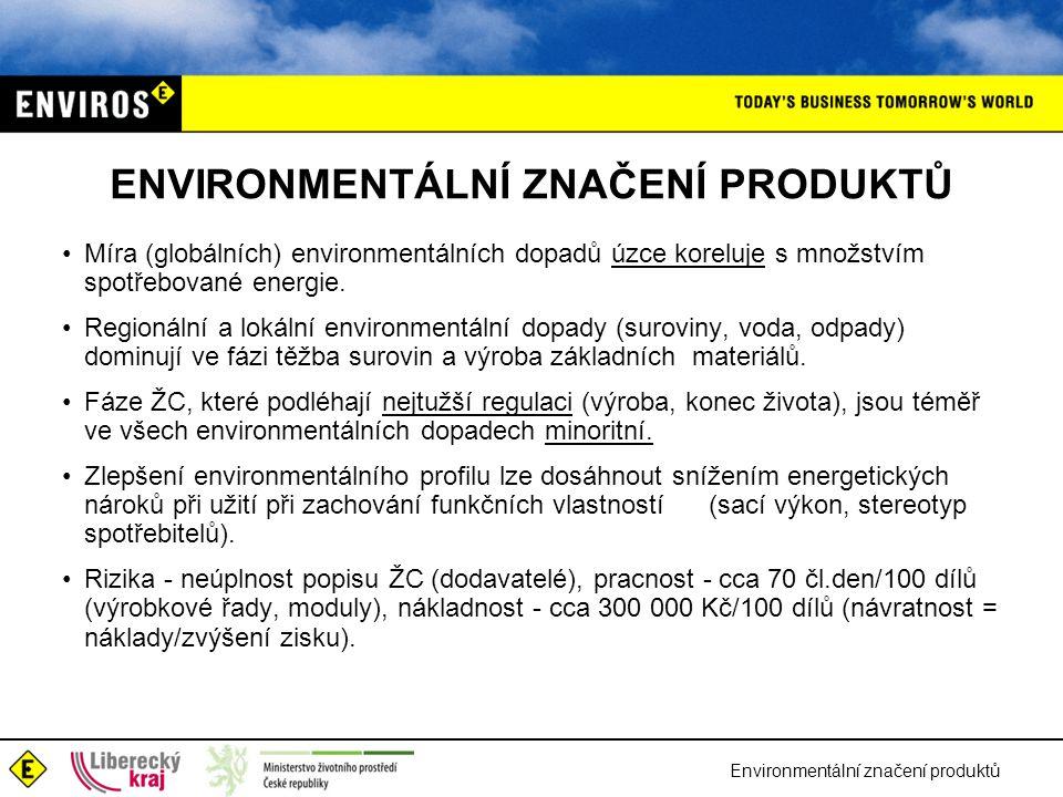 Environmentální značení produktů ENVIRONMENTÁLNÍ ZNAČENÍ PRODUKTŮ Míra (globálních) environmentálních dopadů úzce koreluje s množstvím spotřebované energie.