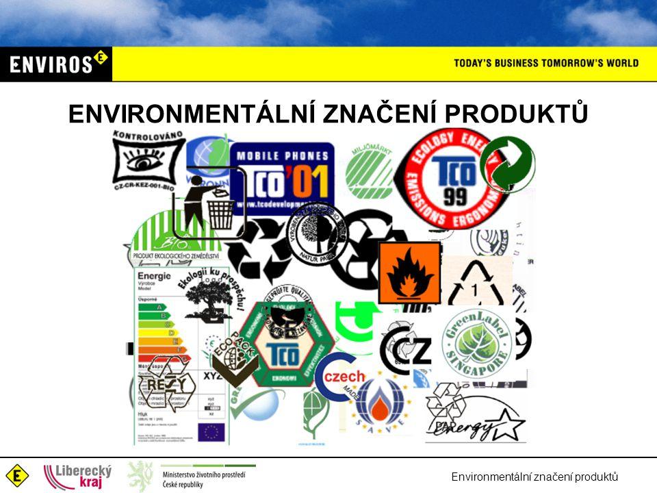 Environmentální značení produktů ENVIRONMENTÁLNÍ ZNAČENÍ PRODUKTŮ Základní typy environmentálního značení –nenormalizované –normalizované (soubor ISO 14020) vč.