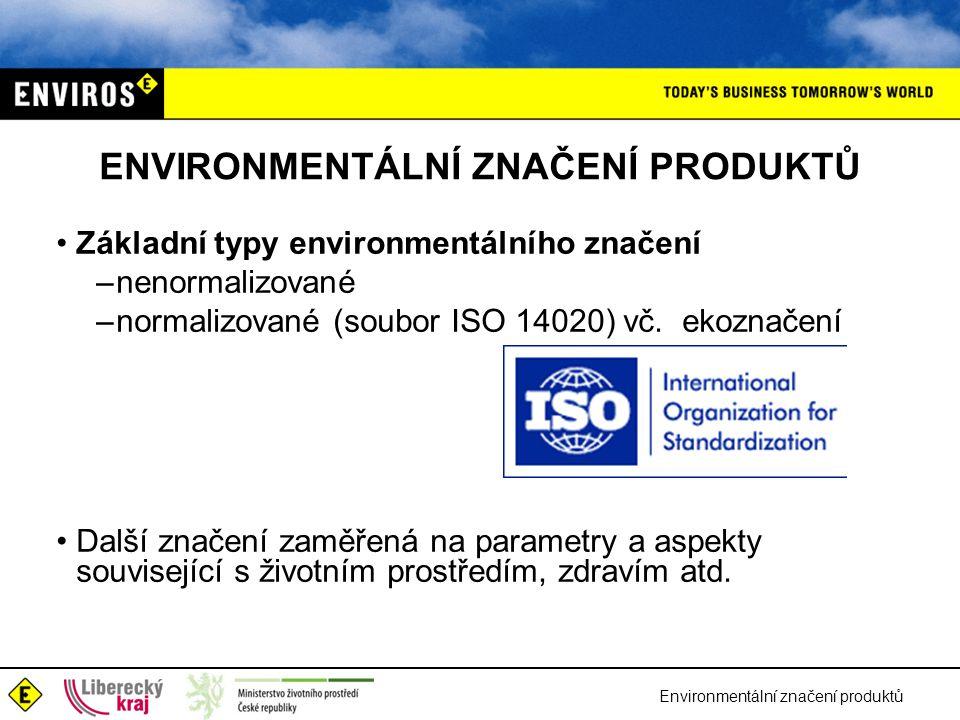 Environmentální značení produktů ENVIRONMENTÁLNÍ ZNAČENÍ PRODUKTŮ Základní typy environmentálního značení –nenormalizované –normalizované (soubor ISO