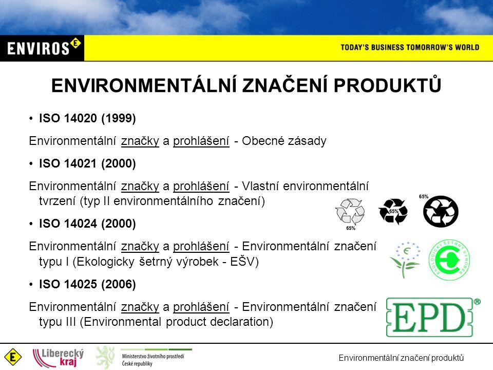 Environmentální značení produktů ENVIRONMENTÁLNÍ ZNAČENÍ PRODUKTŮ ISO 14020 (1999) Environmentální značky a prohlášení - Obecné zásady ISO 14021 (2000