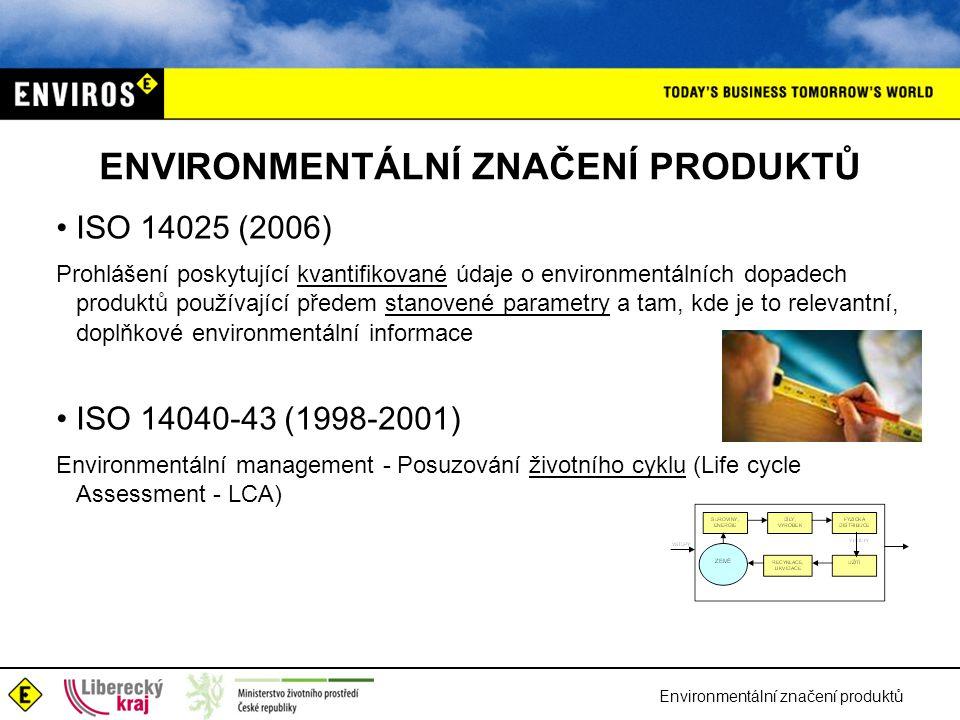 Environmentální značení produktů ENVIRONMENTÁLNÍ ZNAČENÍ PRODUKTŮ ISO 14025 (2006) Prohlášení poskytující kvantifikované údaje o environmentálních dopadech produktů používající předem stanovené parametry a tam, kde je to relevantní, doplňkové environmentální informace ISO 14040-43 (1998-2001) Environmentální management - Posuzování životního cyklu (Life cycle Assessment - LCA)