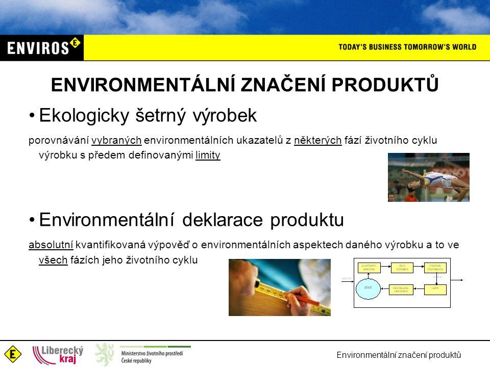 Environmentální značení produktů ENVIRONMENTÁLNÍ ZNAČENÍ PRODUKTŮ Ekologicky šetrný výrobek porovnávání vybraných environmentálních ukazatelů z některých fází životního cyklu výrobku s předem definovanými limity Environmentální deklarace produktu absolutní kvantifikovaná výpověď o environmentálních aspektech daného výrobku a to ve všech fázích jeho životního cyklu