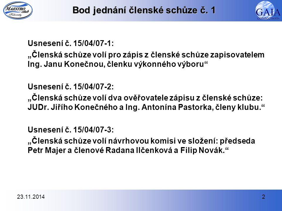 23.11.20142 Bod jednání členské schůze č. 1 Usnesení č.