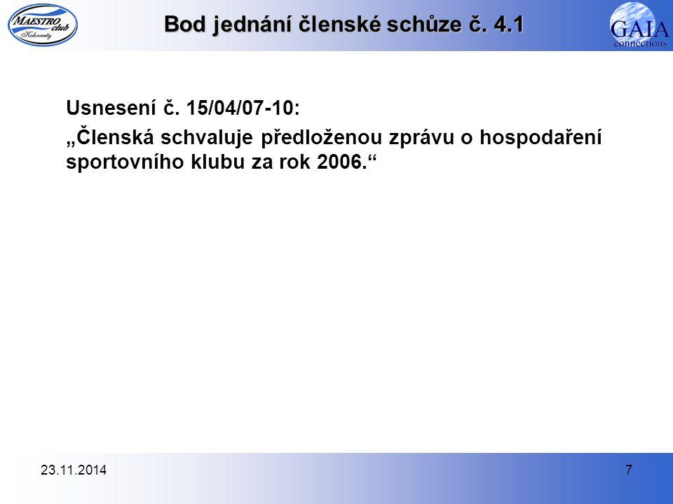 23.11.20147 Bod jednání členské schůze č. 4.1 Usnesení č.