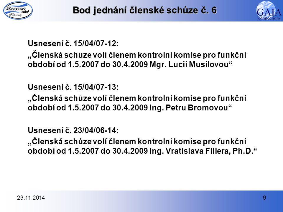 23.11.20149 Bod jednání členské schůze č. 6 Usnesení č.