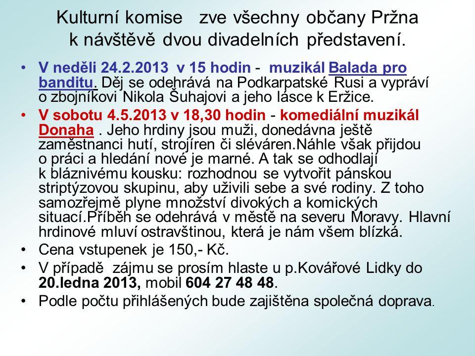 Kulturní komise zve všechny občany Pržna k návštěvě dvou divadelních představení. V neděli 24.2.2013 v 15 hodin - muzikál Balada pro banditu. Děj se o
