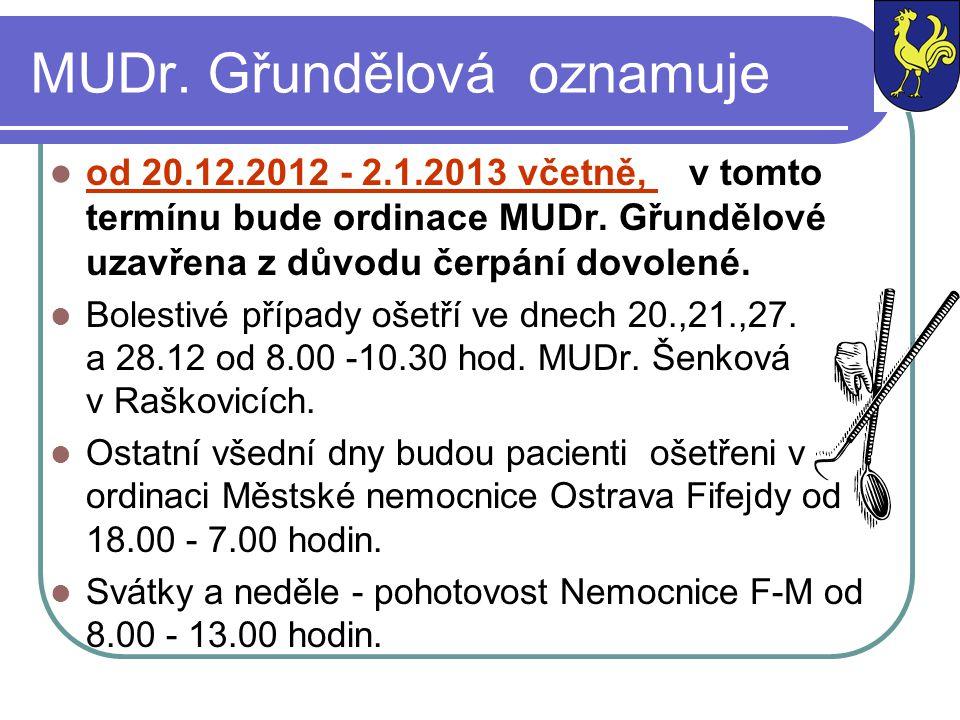 MUDr. Gřundělová oznamuje od 20.12.2012 - 2.1.2013 včetně, v tomto termínu bude ordinace MUDr. Gřundělové uzavřena z důvodu čerpání dovolené. Bolestiv