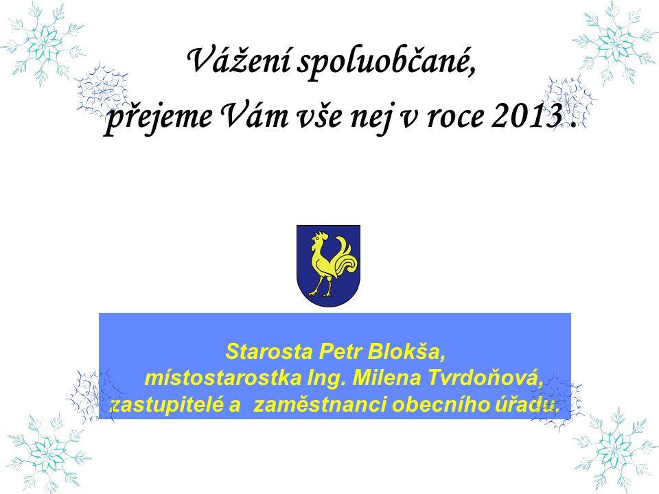 Vážení spoluobčané, přejeme Vám vše nej v roce 2013. Starosta Petr Blokša, místostarostka Ing. Milena Tvrdoňová, zastupitelé a zaměstnanci obecního úř