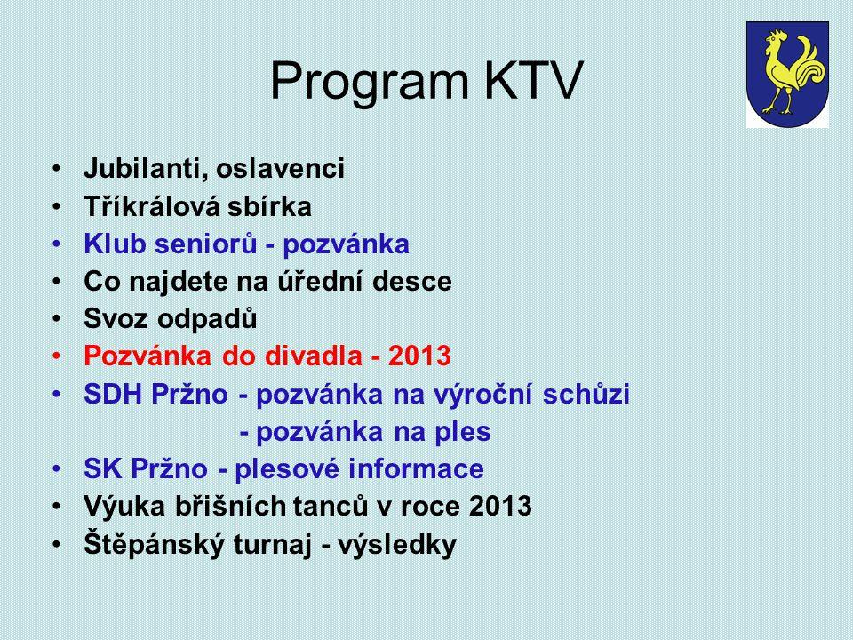 Program KTV Jubilanti, oslavenci Tříkrálová sbírka Klub seniorů - pozvánka Co najdete na úřední desce Svoz odpadů Pozvánka do divadla - 2013 SDH Pržno