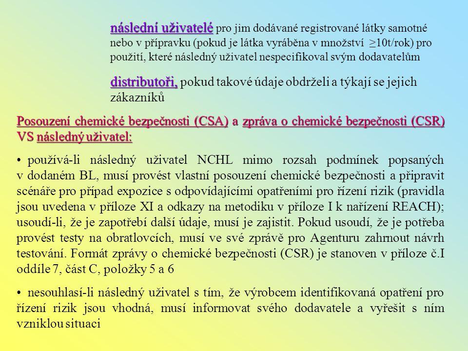 následní uživatelé následní uživatelé pro jim dodávané registrované látky samotné nebo v přípravku (pokud je látka vyráběna v množství ≥10t/rok) pro použití, které následný uživatel nespecifikoval svým dodavatelům distributoři, distributoři, pokud takové údaje obdrželi a týkají se jejich zákazníků Posouzení chemické bezpečnosti (CSA) a zpráva o chemické bezpečnosti (CSR) VS následný uživatel: používá-li následný uživatel NCHL mimo rozsah podmínek popsaných v dodaném BL, musí provést vlastní posouzení chemické bezpečnosti a připravit scénáře pro případ expozice s odpovídajícími opatřeními pro řízení rizik (pravidla jsou uvedena v příloze XI a odkazy na metodiku v příloze I k nařízení REACH); usoudí-li, že je zapotřebí další údaje, musí je zajistit.