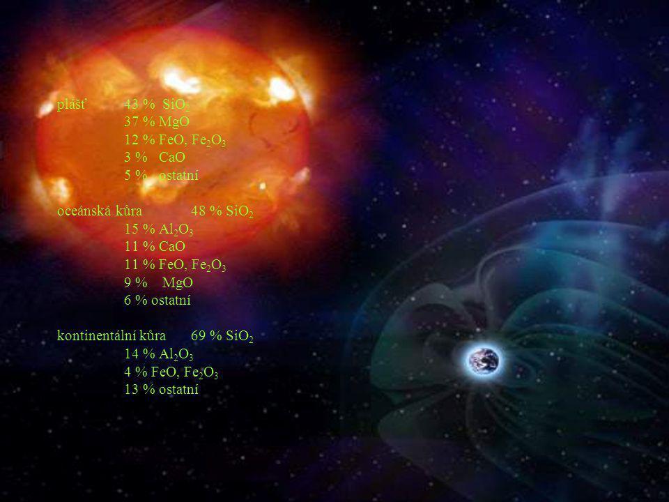plášť43 % SiO 2 37 % MgO 12 % FeO, Fe 2 O 3 3 % CaO 5 % ostatní oceánská kůra48 % SiO 2 15 % Al 2 O 3 11 % CaO 11 % FeO, Fe 2 O 3 9 % MgO 6 % ostatní