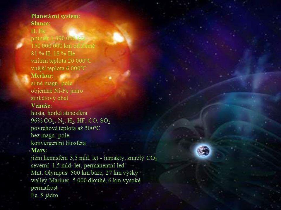 Planetární systém: Slunce: H, He průměr 1 390 000 km 150 000 000 km od Země 81 % H, 18 % He vnitřní teplota 20 000ºC vnější teplota 6 000ºC Merkur: si