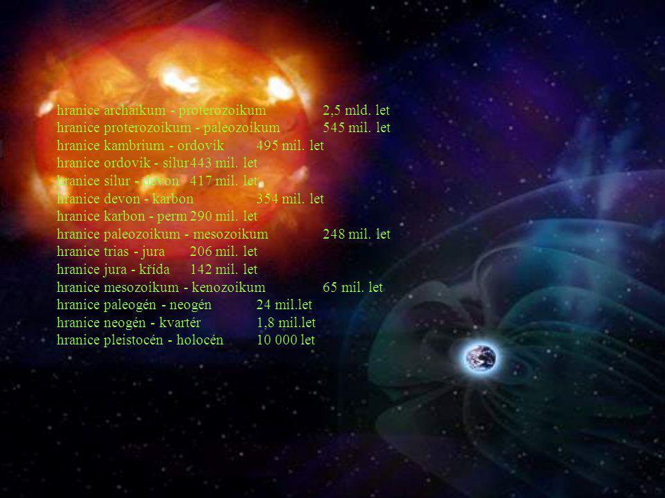 hranice archaikum - proterozoikum2,5 mld. let hranice proterozoikum - paleozoikum545 mil. let hranice kambrium - ordovik495 mil. let hranice ordovik -