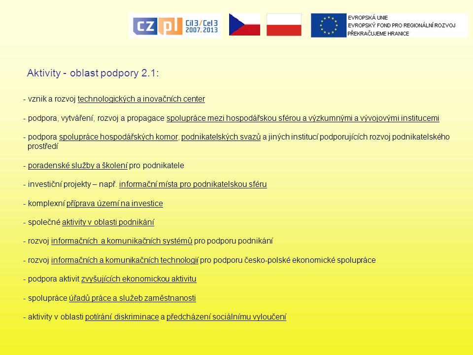- vznik a rozvoj technologických a inovačních center - podpora, vytváření, rozvoj a propagace spolupráce mezi hospodářskou sférou a výzkumnými a vývoj