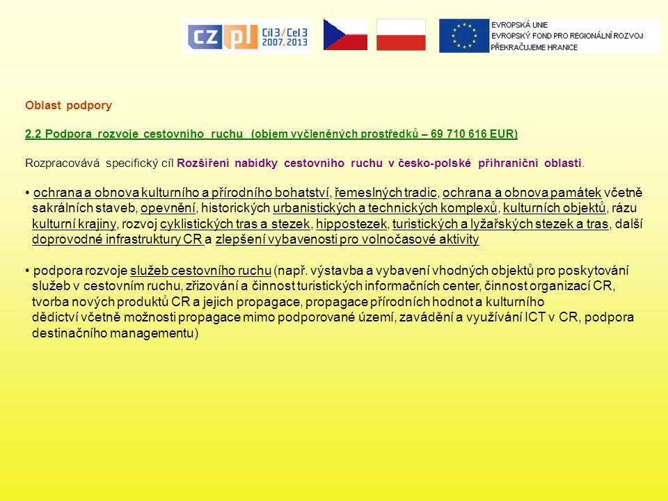 Oblast podpory 2.2 Podpora rozvoje cestovního ruchu (objem vyčleněných prostředků – 69 710 616 EUR) Rozpracovává specifický cíl Rozšíření nabídky cest