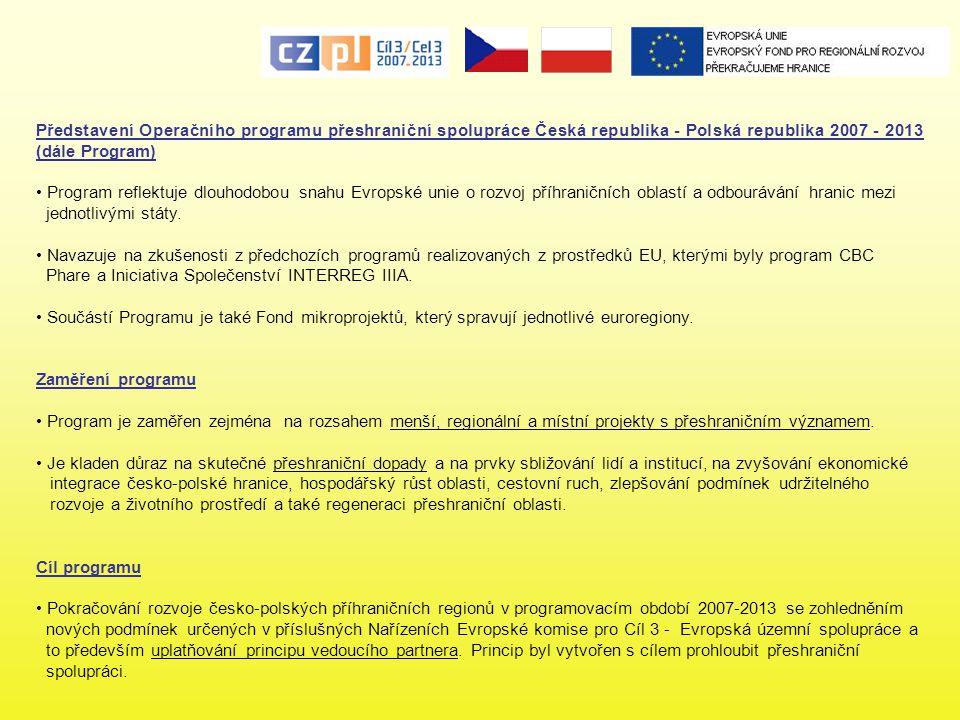 Princip vedoucího partnera Na rozdíl od iniciativy Interreg IIIA (2004 - 2006) je v rámci OPPS ČR - Polsko 2007 2013 nově uplatňován princip vedoucího partnera: - každý projekt musí mít v souladu s čl.