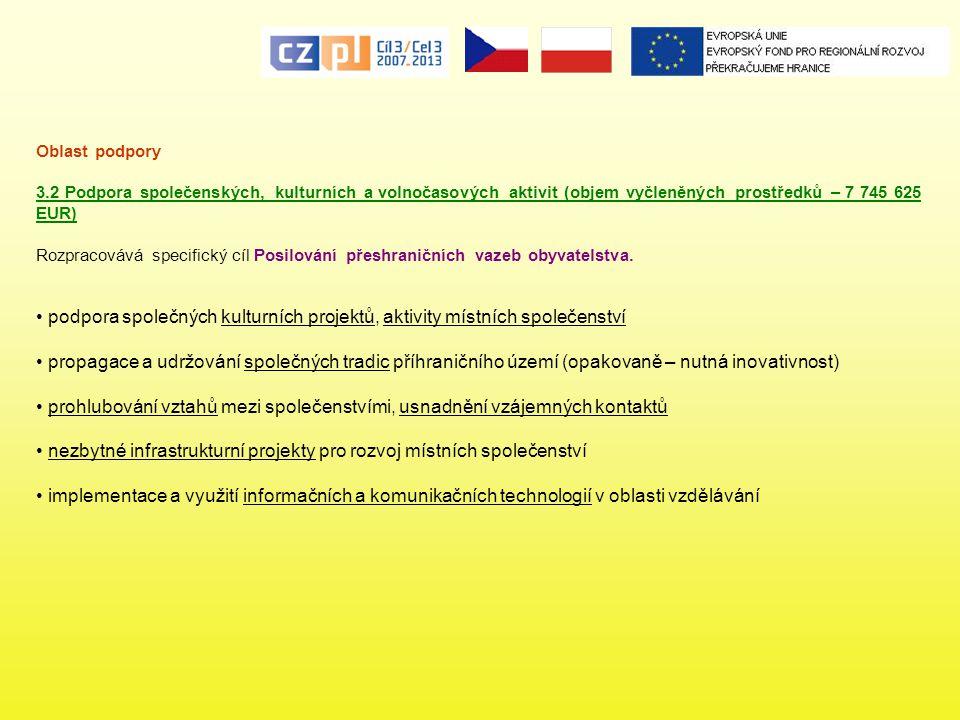 Oblast podpory 3.2 Podpora společenských, kulturních a volnočasových aktivit (objem vyčleněných prostředků – 7 745 625 EUR) Rozpracovává specifický cí
