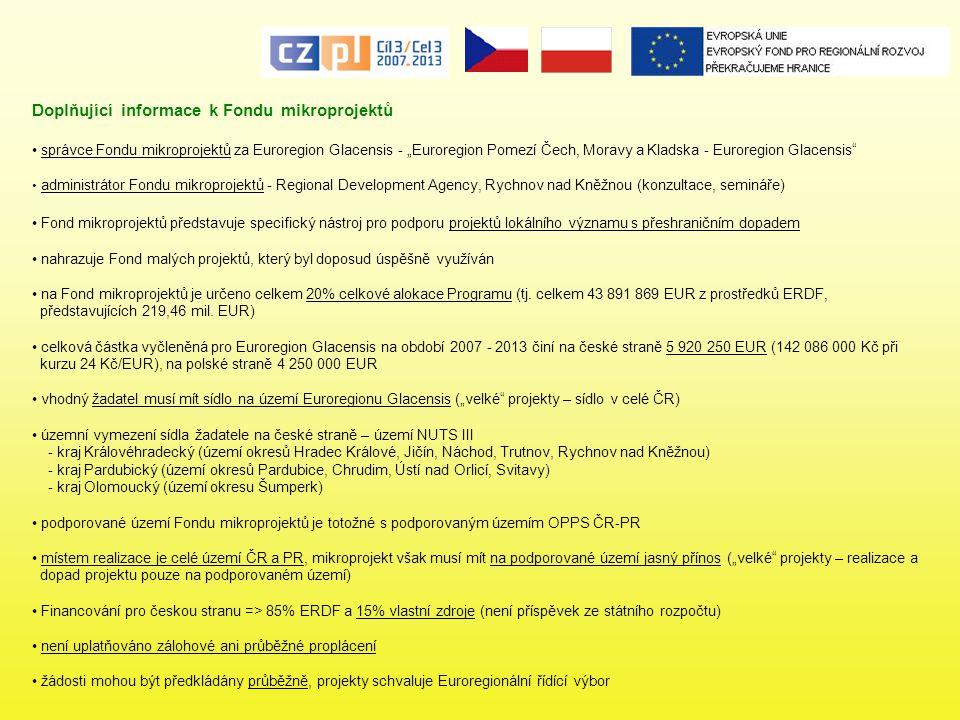 """Doplňující informace k Fondu mikroprojektů správce Fondu mikroprojektů za Euroregion Glacensis - """"Euroregion Pomezí Čech, Moravy a Kladska - Euroregio"""