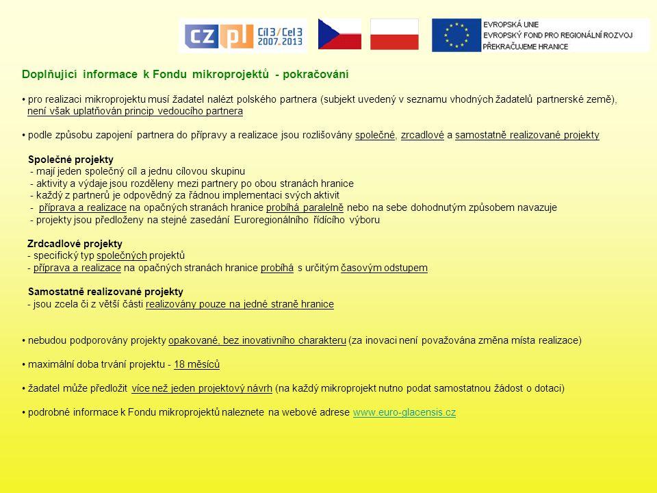 Doplňující informace k Fondu mikroprojektů - pokračování pro realizaci mikroprojektu musí žadatel nalézt polského partnera (subjekt uvedený v seznamu