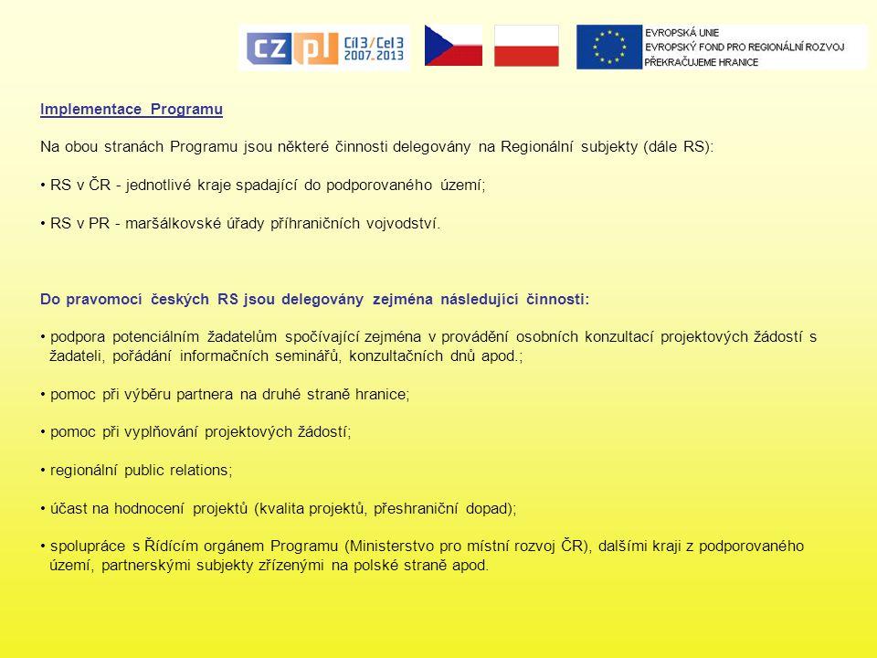 Implementace Programu Na obou stranách Programu jsou některé činnosti delegovány na Regionální subjekty (dále RS): RS v ČR - jednotlivé kraje spadajíc
