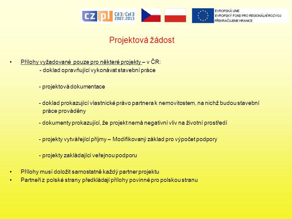 Projektová žádost Přílohy vyžadované pouze pro některé projekty – v ČR: - doklad opravňující vykonávat stavební práce - projektová dokumentace - dokla