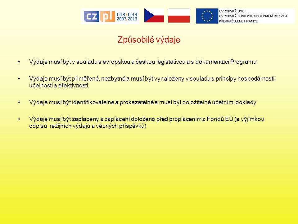 Způsobilé výdaje Výdaje musí být v souladu s evropskou a českou legistativou a s dokumentací Programu Výdaje musí být přiměřené, nezbytné a musí být v
