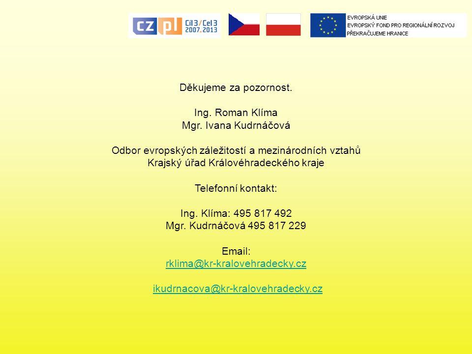 Děkujeme za pozornost. Ing. Roman Klíma Mgr. Ivana Kudrnáčová Odbor evropských záležitostí a mezinárodních vztahů Krajský úřad Královéhradeckého kraje