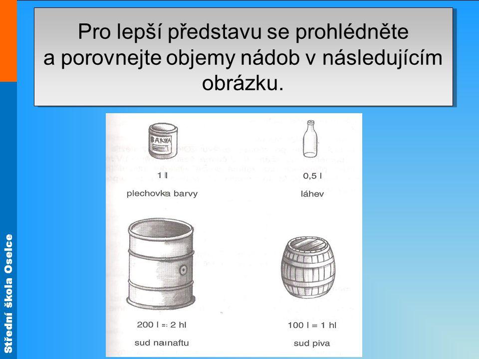 Střední škola Oselce Pro lepší představu se prohlédněte a porovnejte objemy nádob v následujícím obrázku. (z řeckého metrein, to je měření).