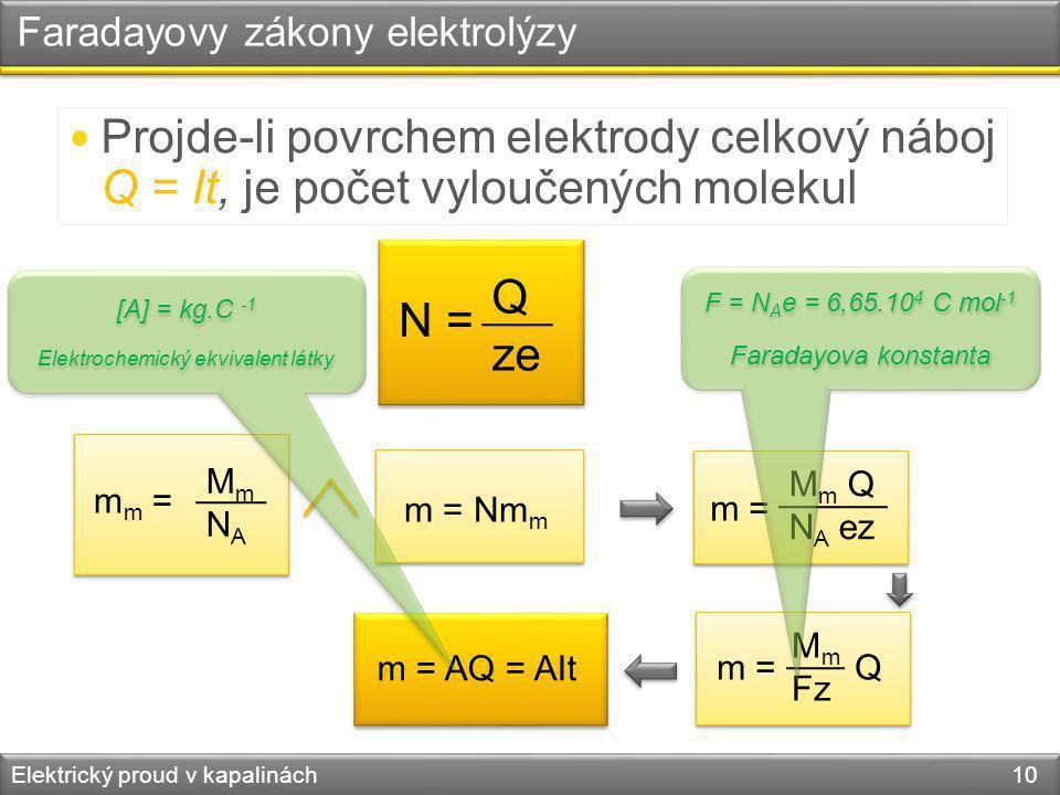 Elektrický proud v kapalinách 10 Faradayovy zákony elektrolýzy Projde-li povrchem elektrody celkový náboj Q = It, je počet vyloučených molekul N = Q z