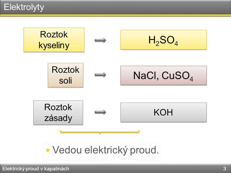 Elektrolyty Elektrický proud v kapalinách 3 Roztok kyseliny H 2 SO 4 Roztok soli NaCl, CuSO 4 Roztok zásady KOH Vedou elektrický proud.