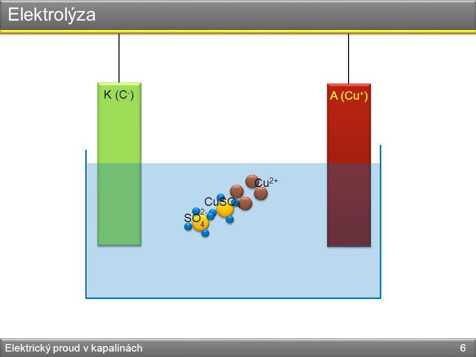 Elektrický proud v kapalinách 7 K (C - ) A (Cu + ) Cu 2+ SO 4 2-