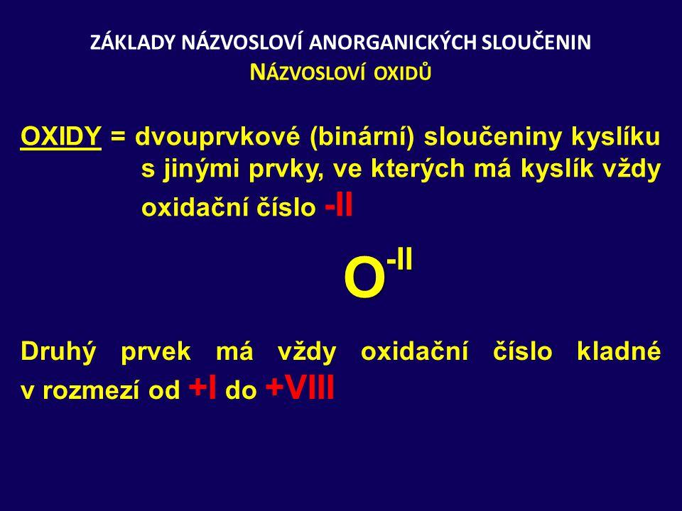 ZÁKLADY NÁZVOSLOVÍ ANORGANICKÝCH SLOUČENIN N ÁZVOSLOVÍ OXIDŮ OXIDY = dvouprvkové (binární) sloučeniny kyslíku s jinými prvky, ve kterých má kyslík vždy oxidační číslo -II O -II Druhý prvek má vždy oxidační číslo kladné v rozmezí od +I do +VIII