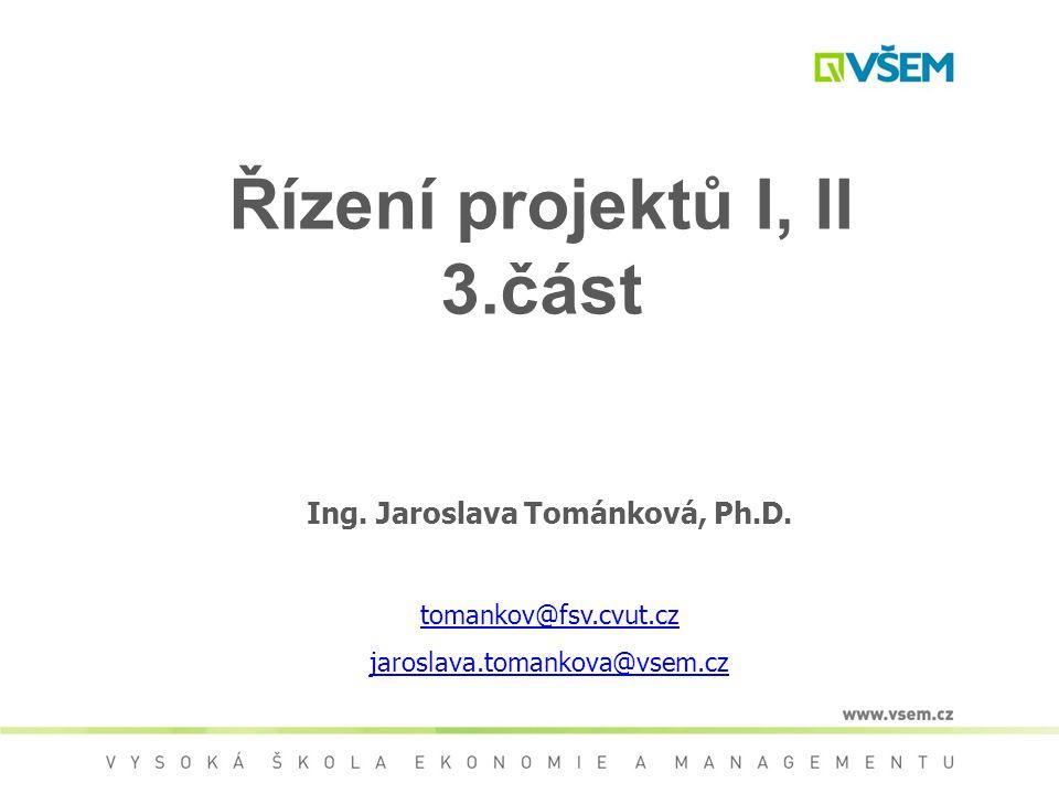Řízení projektů I, II 3.část Ing.Jaroslava Tománková, Ph.D.
