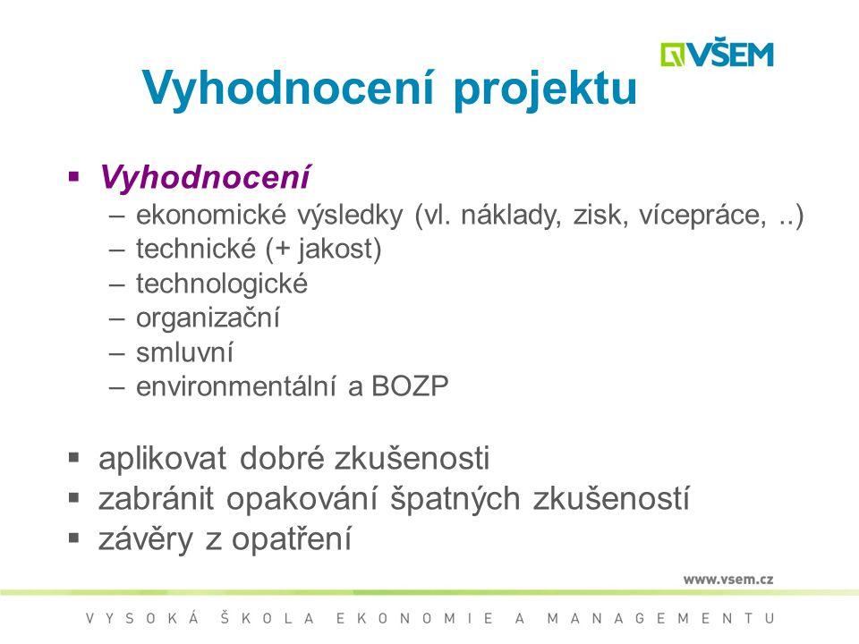 Poprojektová fáze  Vyhodnocení projektu - rozbor průběhu projektu včetně pozitiv/ negativ  Návrh opatření - s cílem napomoci při zvyšování jakosti p