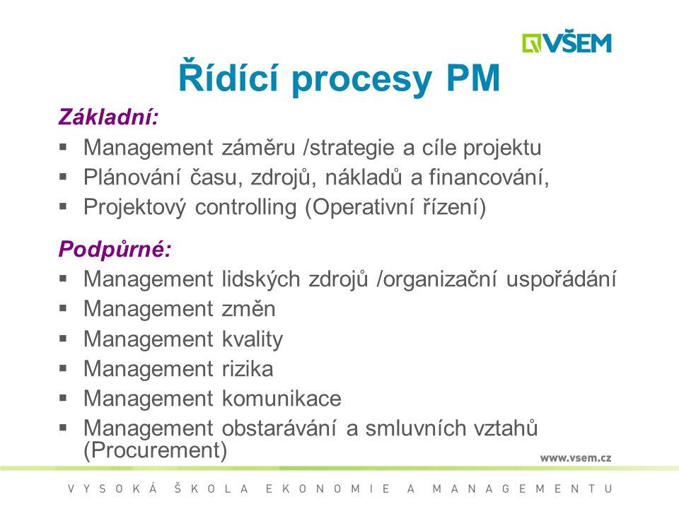 Řídící procesy PM Základní:  Management záměru /strategie a cíle projektu  Plánování času, zdrojů, nákladů a financování,  Projektový controlling (Operativní řízení) Podpůrné:  Management lidských zdrojů /organizační uspořádání  Management změn  Management kvality  Management rizika  Management komunikace  Management obstarávání a smluvních vztahů (Procurement)