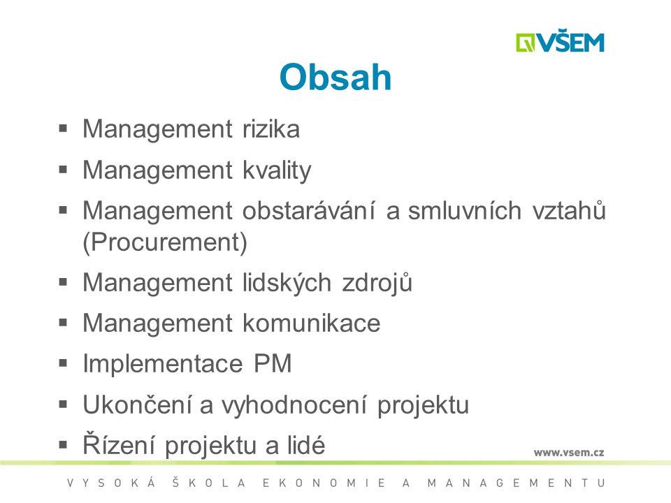 Obsah  Management rizika  Management kvality  Management obstarávání a smluvních vztahů (Procurement)  Management lidských zdrojů  Management komunikace  Implementace PM  Ukončení a vyhodnocení projektu  Řízení projektu a lidé