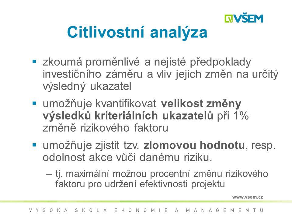 Rozhodovací stromy Předpoklady řešení  Disponibilita dat pro určení NPV včetně kvantifikace pravděpodobnosti  Data pro celou dobu životnosti investi