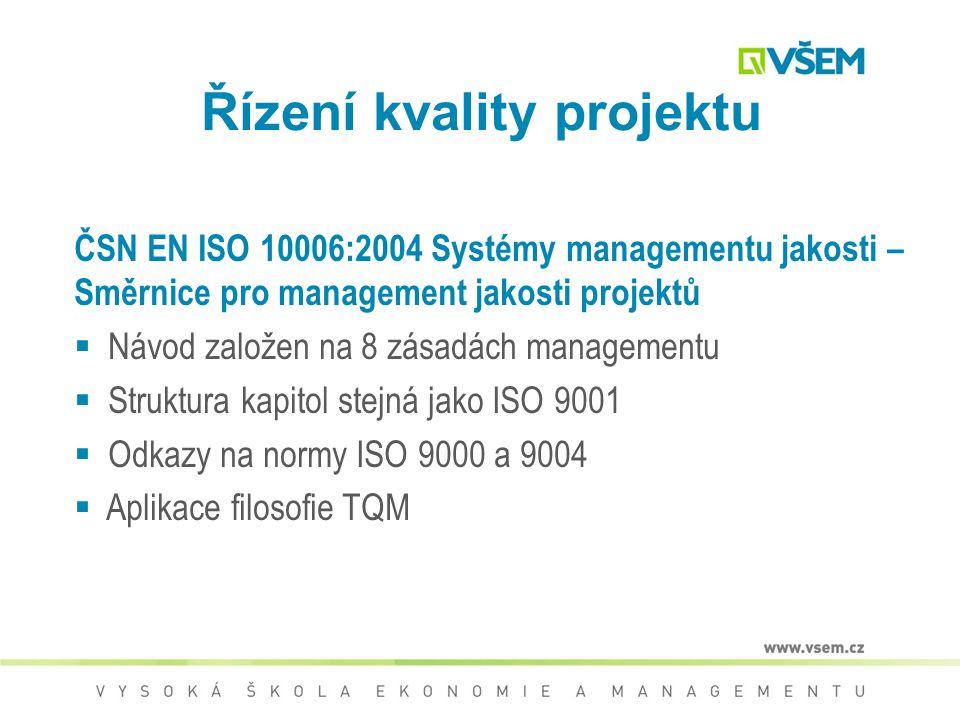 8 zásad managementu kvality  Zaměření na zákazníka  Neustálé zlepšování  Vedení a řízení zaměstnanců  Zapojení zaměstnanců  Procesní přístup  Sy