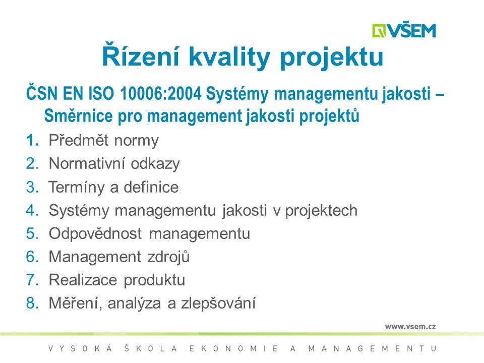 ČSN EN ISO 10006:2004 Systémy managementu jakosti – Směrnice pro management jakosti projektů  Návod založen na 8 zásadách managementu  Struktura kap