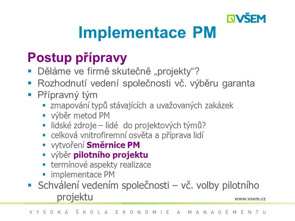 Podmínky úspěšné implementace PM  Angažovanost vedení společnosti pro PM  Vytvoření proinovativního klimatu ve firmě  Podpora týmové práce  Nastav