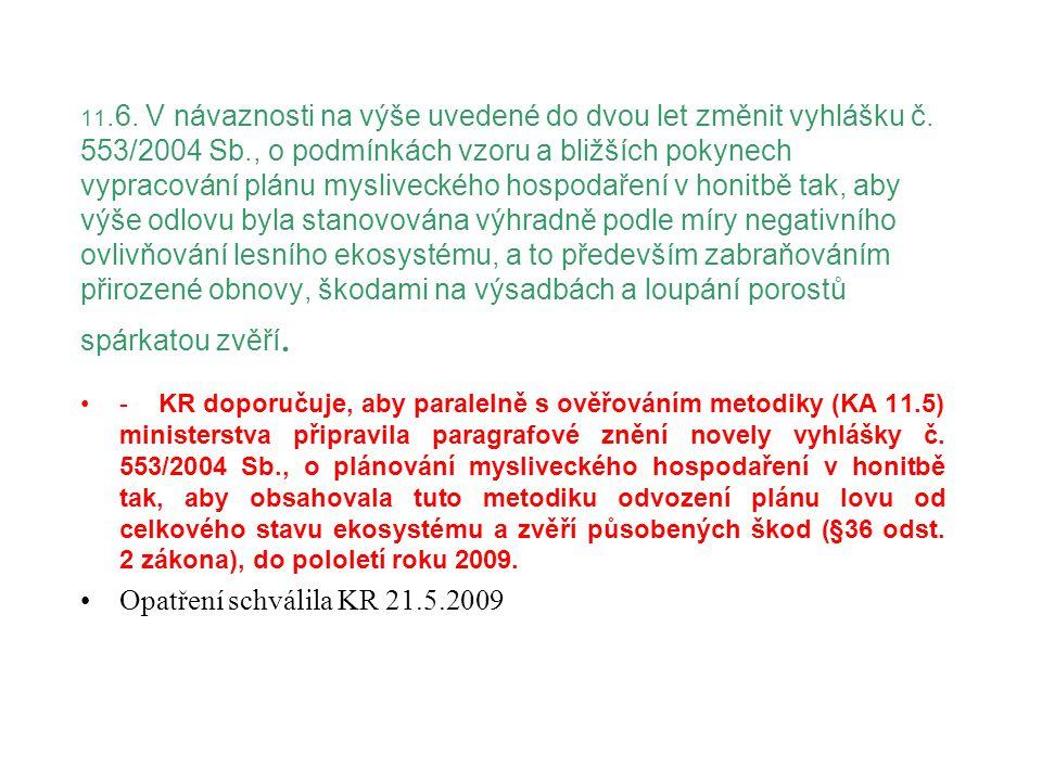 11.6. V návaznosti na výše uvedené do dvou let změnit vyhlášku č. 553/2004 Sb., o podmínkách vzoru a bližších pokynech vypracování plánu mysliveckého
